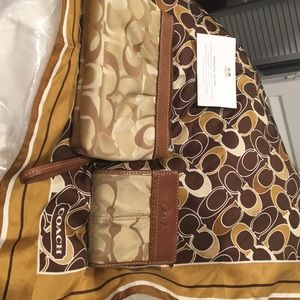 Coach wristlet, small wallet and silk scarf